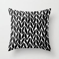 Hand Knitted Black on White Throw Pillow