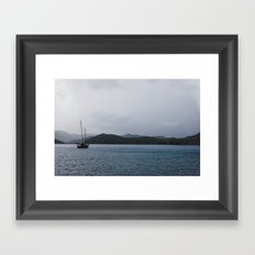 Moored Sailboat  Framed Art Print