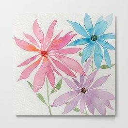 Trio of Pink, Blue and Purple Poinsettia style Abstract Watercolor Flowers Metal Print