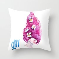 virgo Throw Pillows featuring Virgo by Aloke Design