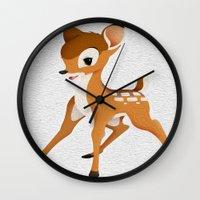 bambi Wall Clocks featuring Bambi by MandiMccl