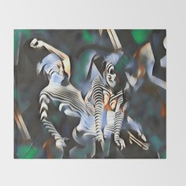 0169-PJ+NIS Sisters Abstracted Nude Zebra Girls in Green and Blue Throw Blanket