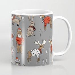 Christmas winter woodland animals foxes deer bunnies moose holiday cute design Coffee Mug
