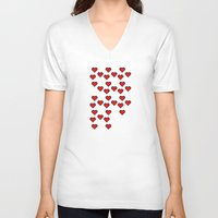 8 bit V-neck T-shirts featuring 8 BIT HEART by Bianca Lopomo