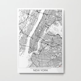 New York City Neutral Map Art Print Metal Print