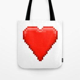 Retro Video Game Heart Pixel Art Tote Bag