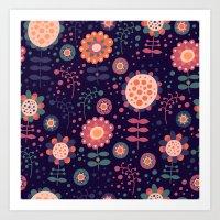 flora Art Prints featuring Flora by Valendji