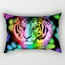 Tiger Neon Dripping Rainbow Colors Rectangular Pillow