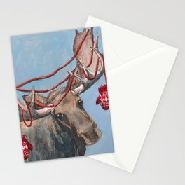 O Canada Moose with Mittens Stationery Cards