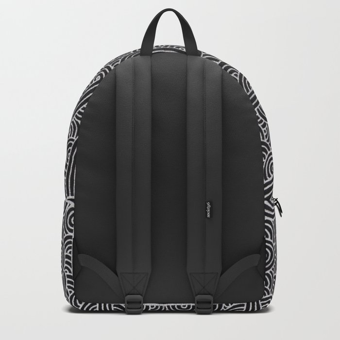 Black and faux silver swirls doodles Backpack