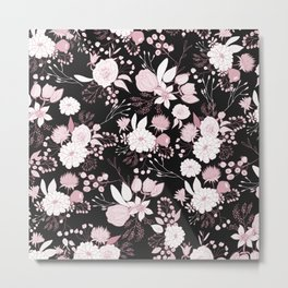 Blush pink white black rustic abstract floral illustration Metal Print