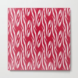 White pattern on red background. Metal Print