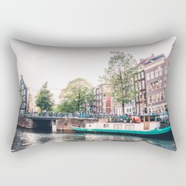 Amsterdam House Boats on Canal   Europe City Travel Urban Landscape Photography Rectangular Pillow