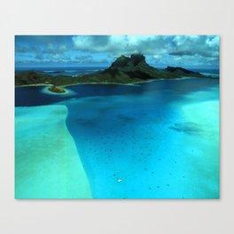 Bora Bora Lagoon Aerial Canvas Print