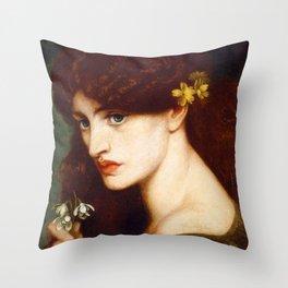 """Dante Gabriel Rossetti """"Blanzifiore (Snowdrops)"""" Throw Pillow"""