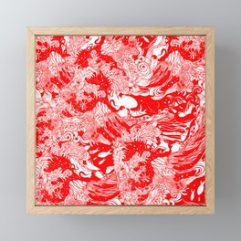 Big waves Red Framed Mini Art Print