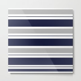 Navy Blue and Grey Stripe Metal Print