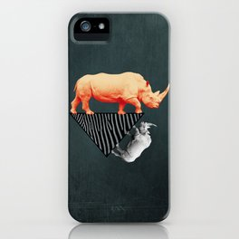 The orange rhinoceros who wanted to become a zebra iPhone Case