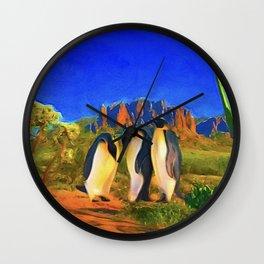 Mojave Penguins Wall Clock