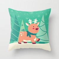reindeer Throw Pillows featuring Reindeer by Claire Lordon
