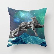 Lethargic leopard Throw Pillow