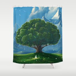 Chibi big tree Shower Curtain