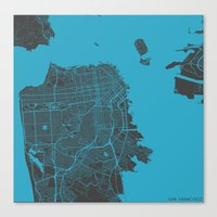 san francisco Canvas Prints featuring San Francisco by Map Map Maps