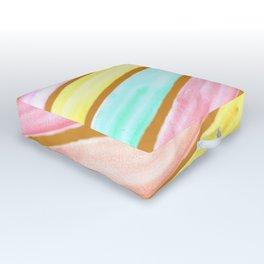 Retro Watercolor Stripes  Outdoor Floor Cushion