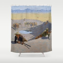 "Frederic Remington Western Art ""Fighting for the Waterhole"" Shower Curtain"