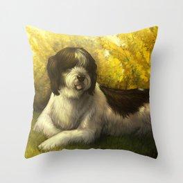 Jake: Sheepdog Portrait Throw Pillow