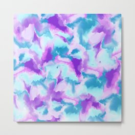 Abstract turquoise purple hand painted watercolor Metal Print