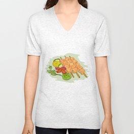 Chicken Kebabs Vegetables Drawing Unisex V-Neck
