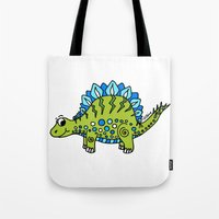 dinosaur Tote Bags featuring Dinosaur by Peggy Cline