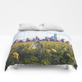 Astronaut in the Field-New York City Skyline Comforters