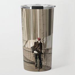 Biking Santa on the Brooklyn Bridge Travel Mug