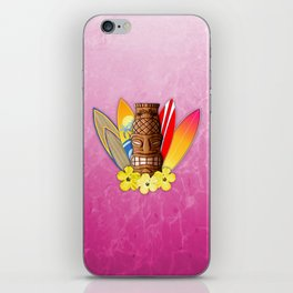 Surfboards And Tiki Mask Pink iPhone Skin