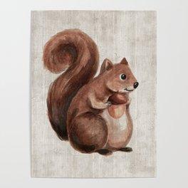 Little Squirrel, Woodland Animals, Forest Friends, Baby Animals, Children's Art Poster