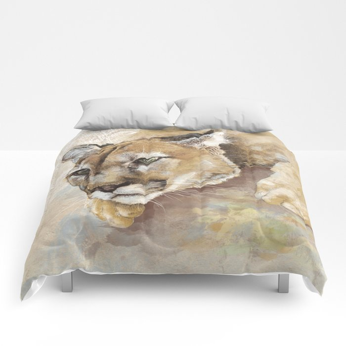 Captivated Mountain Lion Comforters