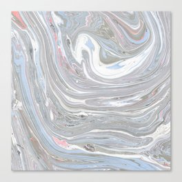 Abstract pink blue gray watercolor marble pattern Canvas Print