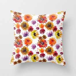 Watercolor fall flowers Throw Pillow