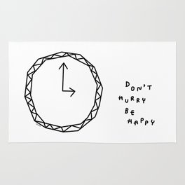 Be Happy - black and white illustration Rug