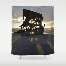 Wreck of the Peter Iredale at sunset Shower Curtain