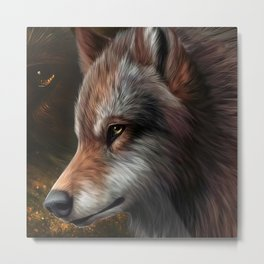 The head of a wolf painting.   Metal Print