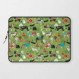 Dogs halloween costumes cute pumpkin ghost skeleton witch trick or treat Laptop Sleeve