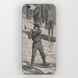 Vintage Illustration of a Lumberjack (1871) iPhone Skin