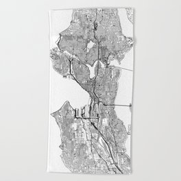Seattle White Map Beach Towel