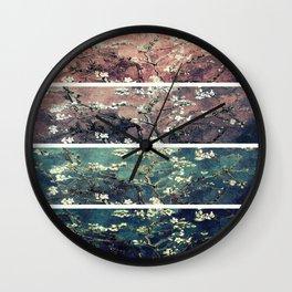 Van Gogh Almond Blossoms Panel Teal Mauve Myrtle Green Wall Clock