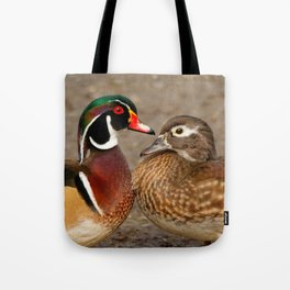 A Touching Moment Between Wood Duck Lovebirds Tote Bag
