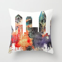 colorful watercolor San Diego skyline Throw Pillow