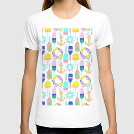 Nautical Notions in White + Candy Rainbow T-shirt
